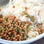 basmati rice in a dog bowl - a healthy meal