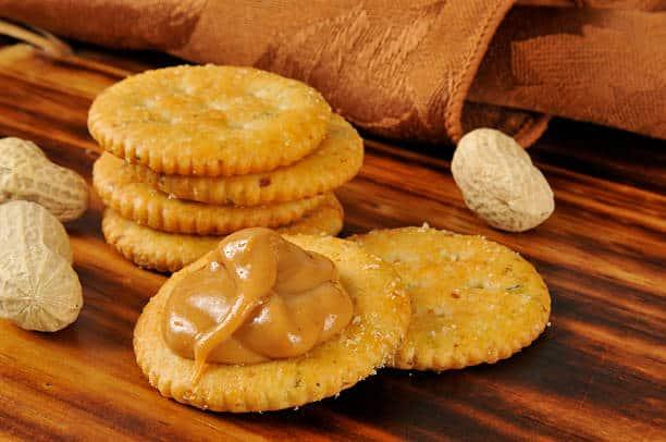 peanut butter on a cracker