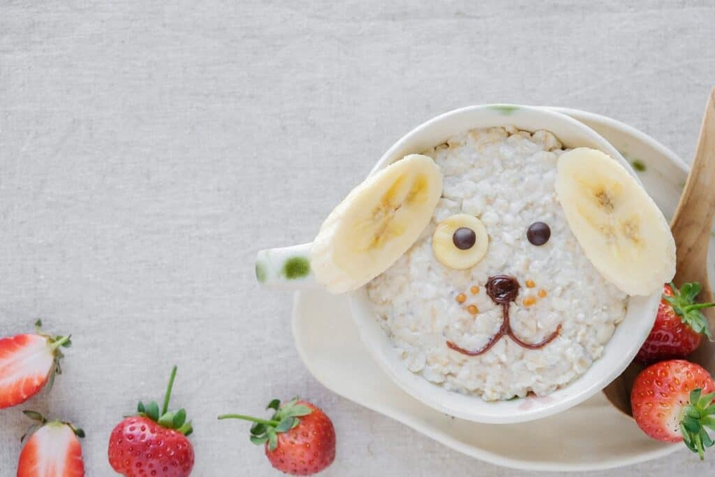 oatmeal in the shape of a dog